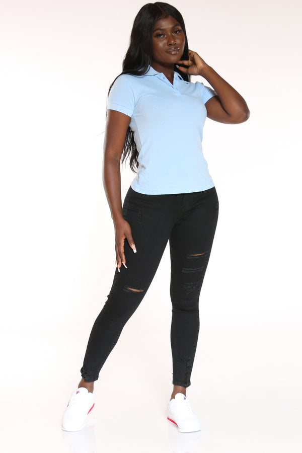 Women's 5 Button Solid Polo Tee - Light Blue