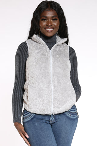 Women's Sherpa Vest - Heather Grey-VIM.COM