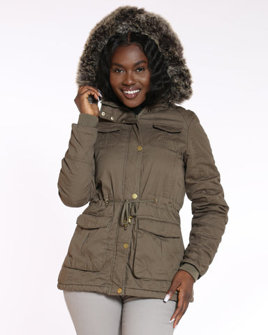 YMI London Fur Hood Lined Cotton Jacket - Olive - ShopVimVixen.com