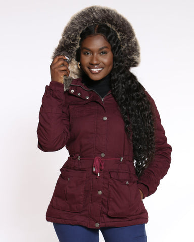 YMI London Fur Hood Lined Cotton Jacket - Sangria - ShopVimVixen.com