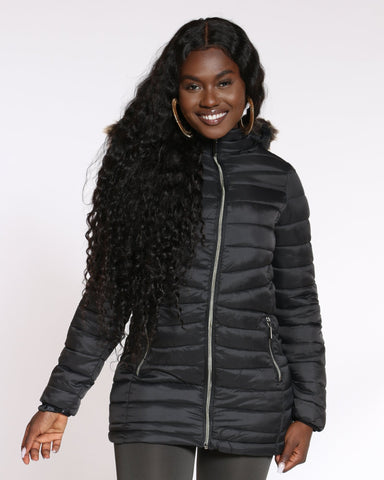 YMI-Women's Long Fur Lined Hood Jacket - Black-VIM.COM