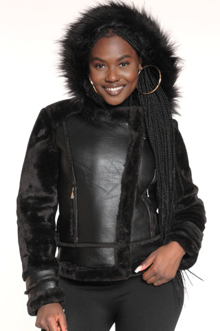 Women's Maye Shearling Fur Hood Jacket - Black-VIM.COM