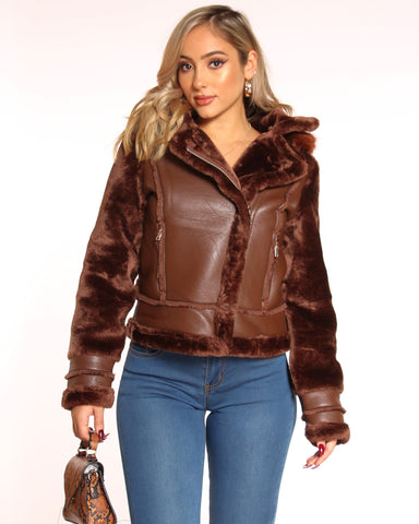 VIM VIXEN Maye Shearling Fur Hood Jacket - Brown - ShopVimVixen.com