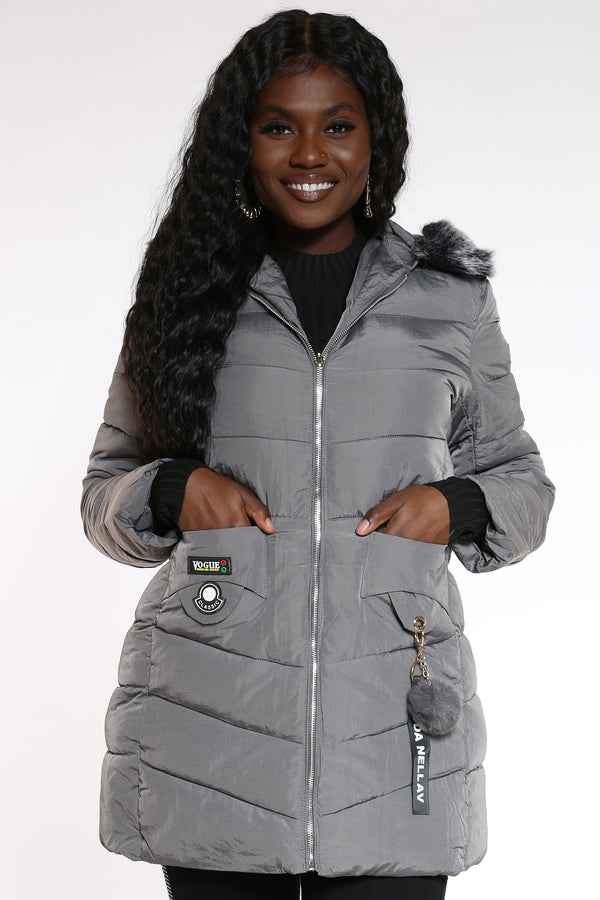 Women's Fur Hooded Jacket - Grey-VIM.COM