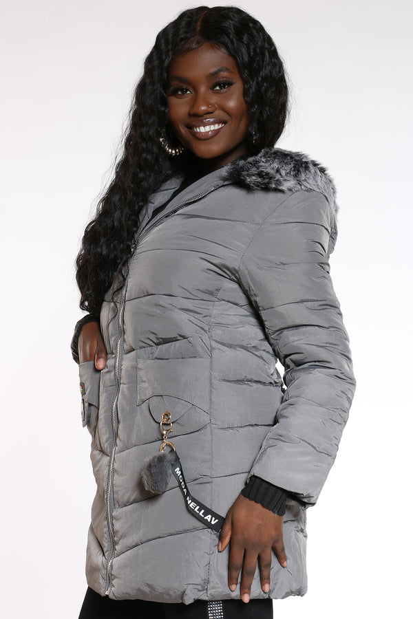 Women's Fur Hooded Jacket - Grey