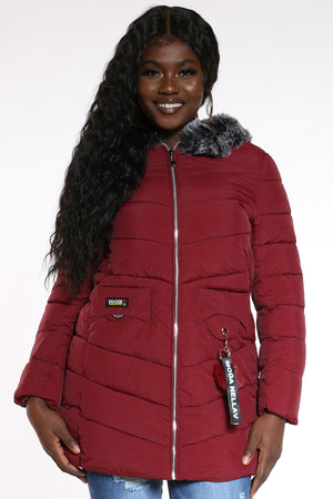 Women's Keychain Hooded Jacket - Burgundy-VIM.COM