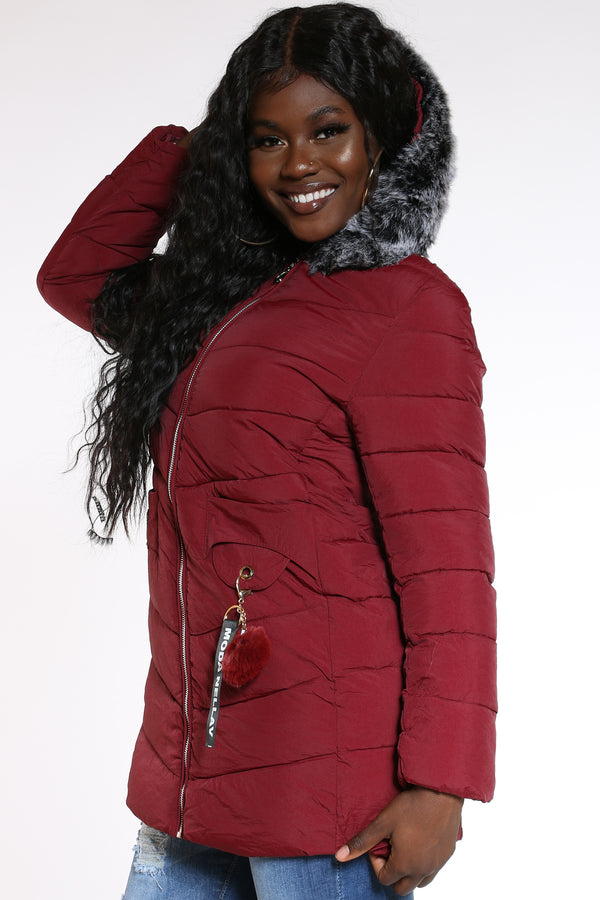Women's Keychain Hooded Jacket - Burgundy