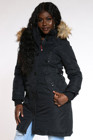 Women's Weather Long Parka Hood Jacket - Black