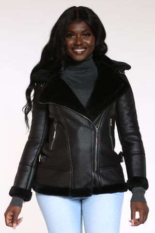 Women's Shearling Fur Hood Jacket - Black-VIM.COM