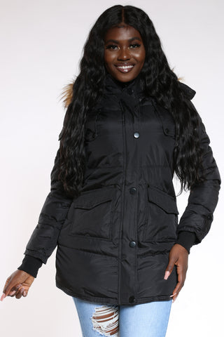 Women's Heavy Quilted Hood Jacket - Black-VIM.COM