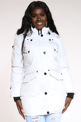 Women's Heavy Quilted Hood Jacket - White-VIM.COM
