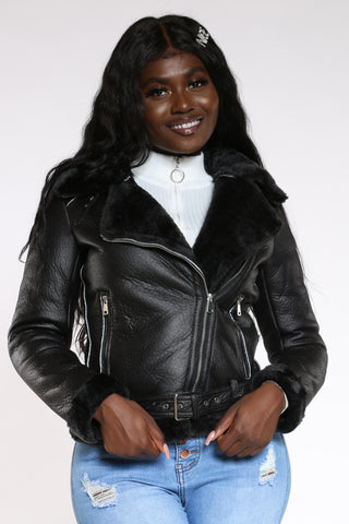Women's Shearling Jacket - Black-VIM.COM