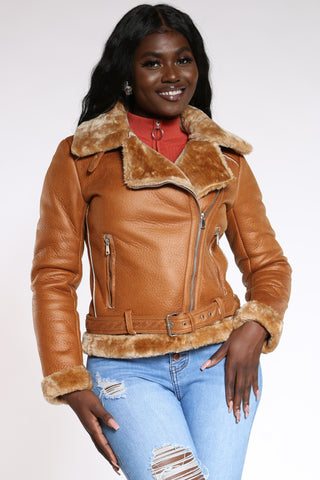 Women's Shearling Jacket - Tan-VIM.COM