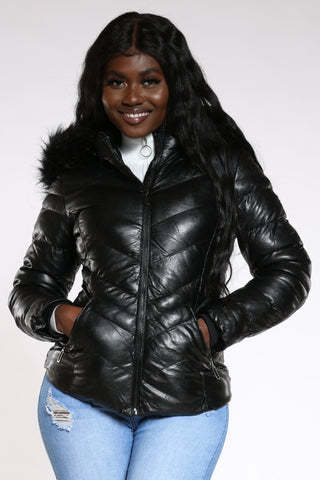 Women's Heavy Padded Hood Jacket - Black-VIM.COM