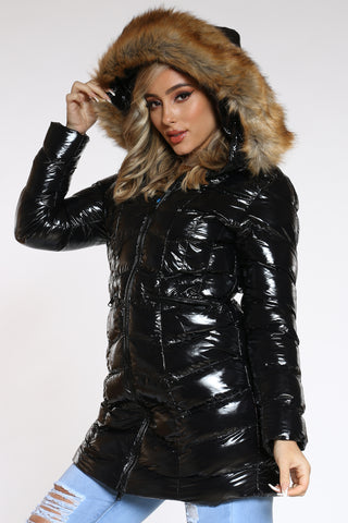Women's Long Shiny Bubble Hood Jacket - Black-VIM.COM