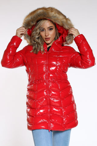 Women's Long Shiny Bubble Hood Jacket - Red-VIM.COM