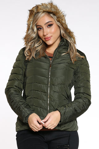 Women's Midweight Short Hood Jacket - Army Green-VIM.COM