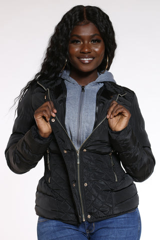 Women's Midweight Short Hood Jacket - Black-VIM.COM