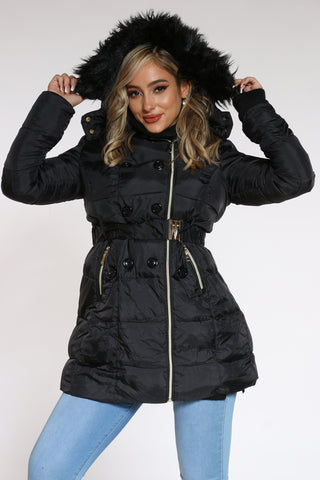 Women's Midweight Long Belted Jacket - Black-VIM.COM