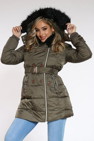Women's Midweight Long Belted Jacket - Olive-VIM.COM