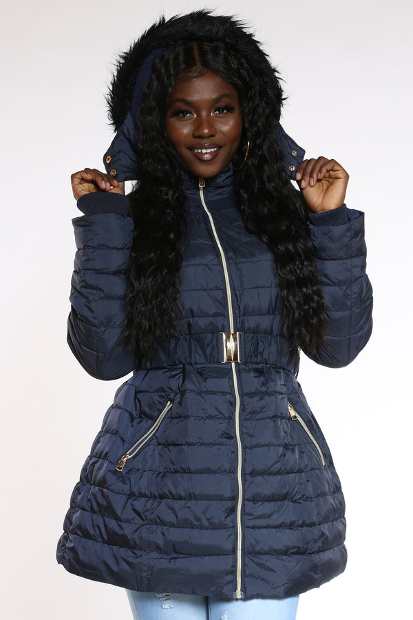 Women's Midweight Long Belted Jacket - Navy-VIM.COM