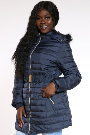 Women's Midweight Long Belted Jacket - Navy