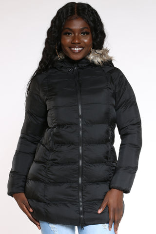 Women's Heavy Long Hood Jacket - Black-VIM.COM