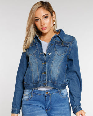 VIM VIXEN Bayley Classic Denim Jacket - Dark Blue - ShopVimVixen.com