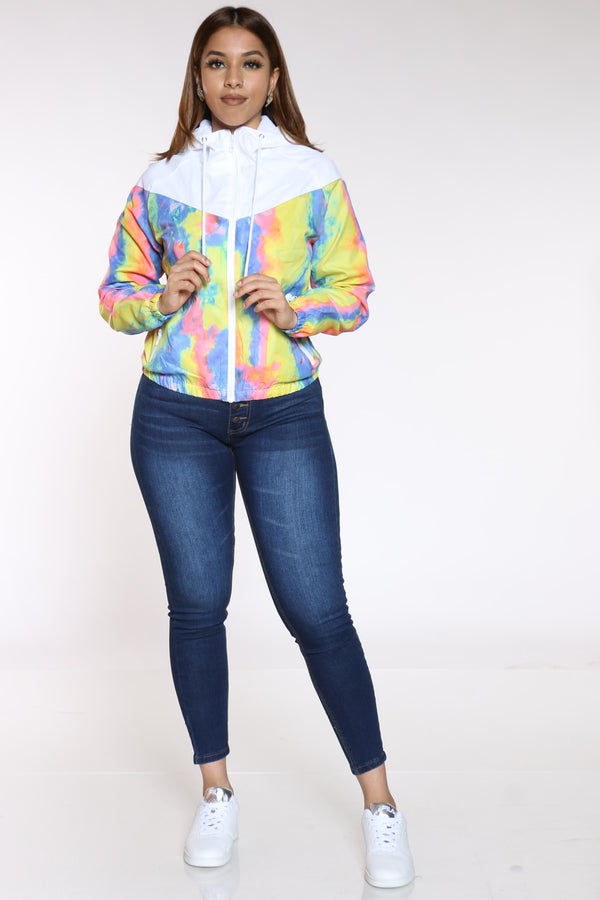 Women's Tie Dye Windbreaker Jacket - Blue-VIM.COM