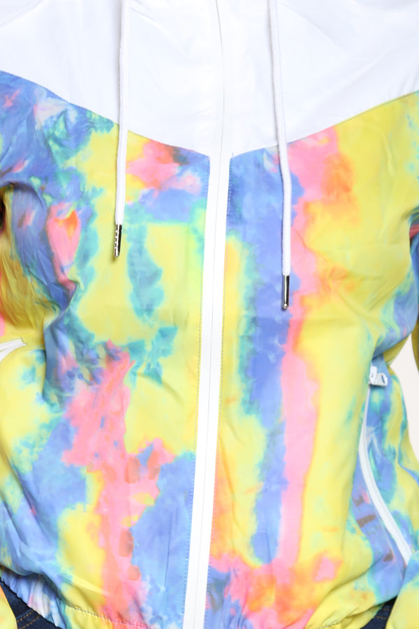 Women's Tie Dye Windbreaker Jacket - Blue