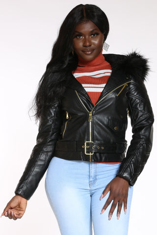 Women's Pu Moto Fur Hooded Jacket - Black-VIM.COM