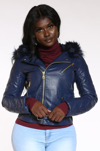 Women's Pu Moto Fur Hooded Jacket - Navy-VIM.COM