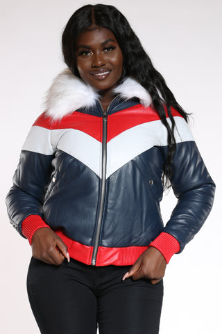 Women's Pu Color Block Hood Jacket - Red White Navy-VIM.COM