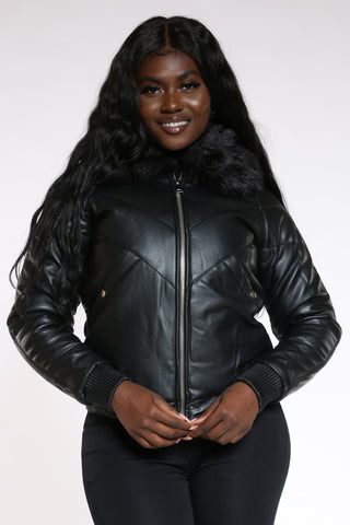 Women's Pu Solid Hood Jacket - Black-VIM.COM