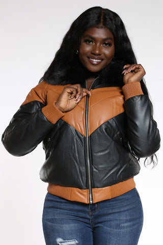 Women's Pu Color Block Hood Jacket - Tan-VIM.COM
