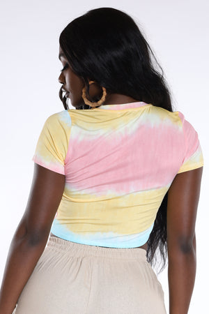I'm Yours Tie Dye Crop Top - Peach Blue