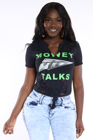 Money Talks Ripped Crop Tee - Black-VIM.COM