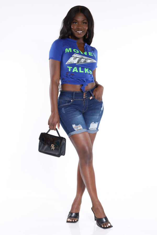 Money Talks Ripped Crop Tee - Royal