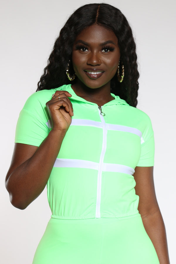 Women's Hooded Crop Top - Lime-VIM.COM