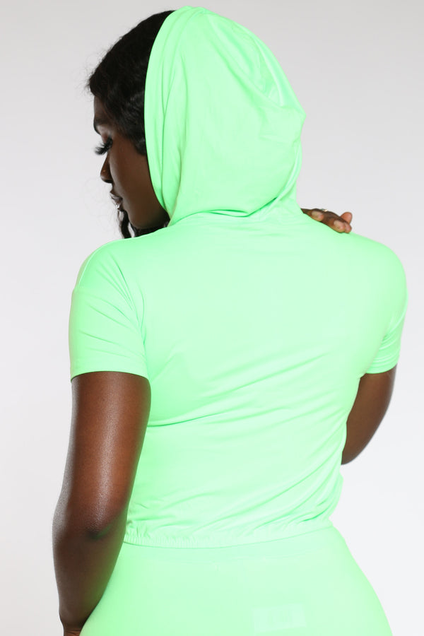 Women's Hooded Crop Top - Lime