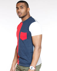 VIM Split Color Block Pocket Tee - Navy - Vim.com