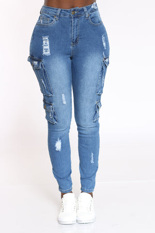 Women's Cargo & Ripped Denim Skinny Jean - Medium Blue-VIM.COM