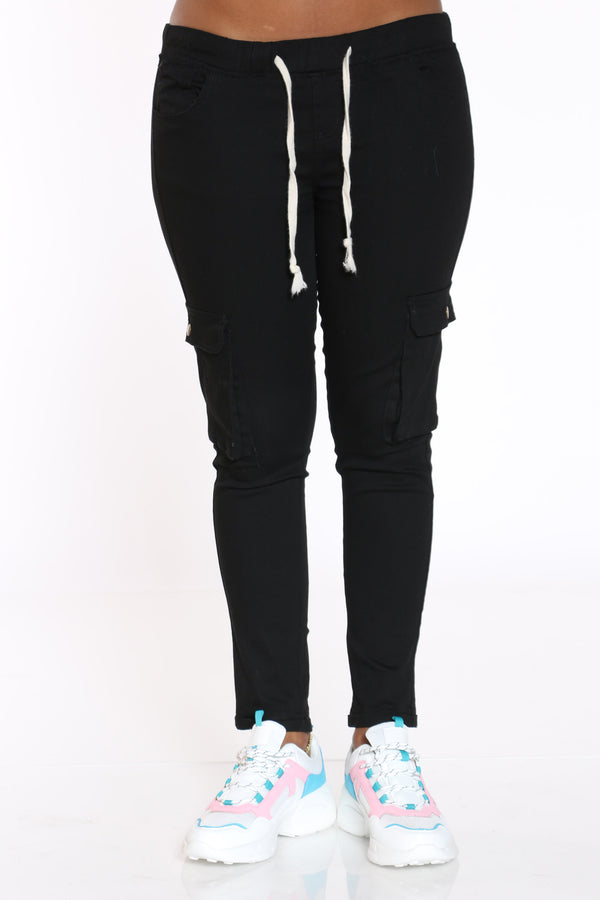 Women's Twill Cargo Pocket Pant - Black-VIM.COM