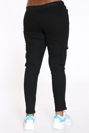 Women's Twill Cargo Pocket Pant - Black