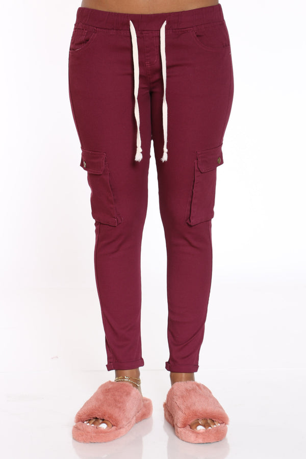 Women's Twill Cargo Pocket Pant - Burgundy-VIM.COM