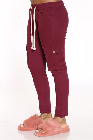 Women's Twill Cargo Pocket Pant - Burgundy