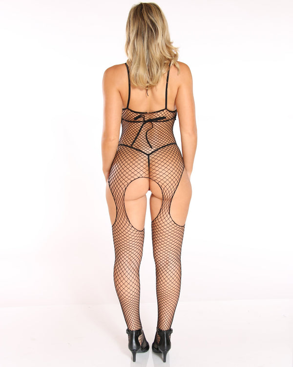 Women's Caddie Fishnet Body Stocking Bodysuit - Black