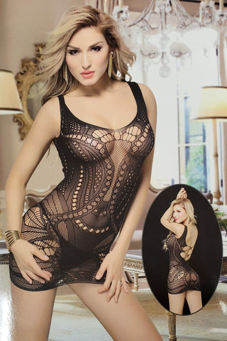 Women's Serenity Mesh Dress Lingerie - Black-VIM.COM