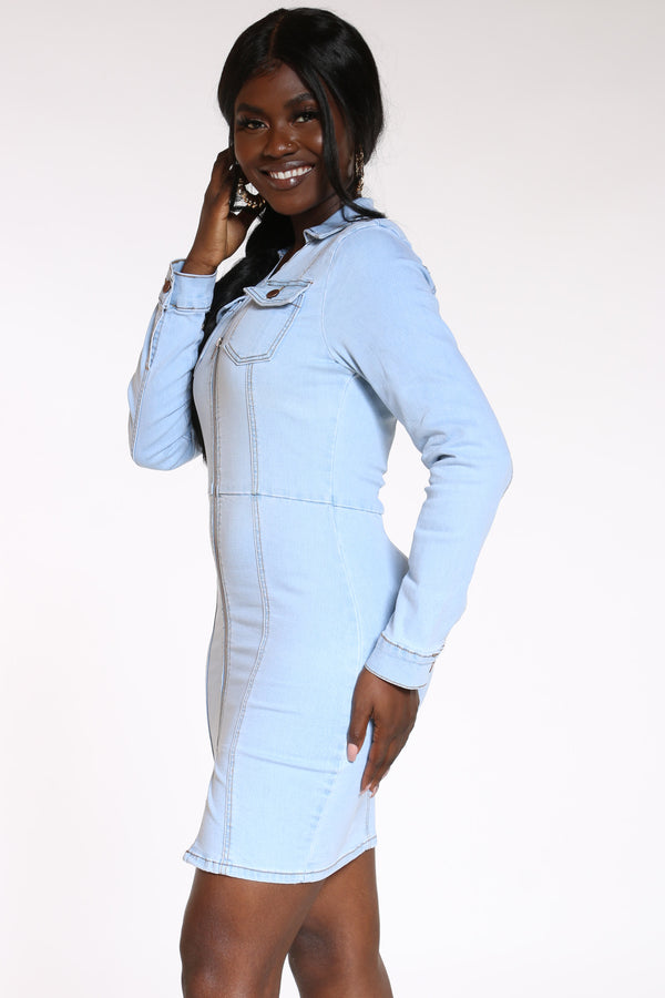 Better Than Your Ex 2 Pocket Denim Dress - Ice Wash