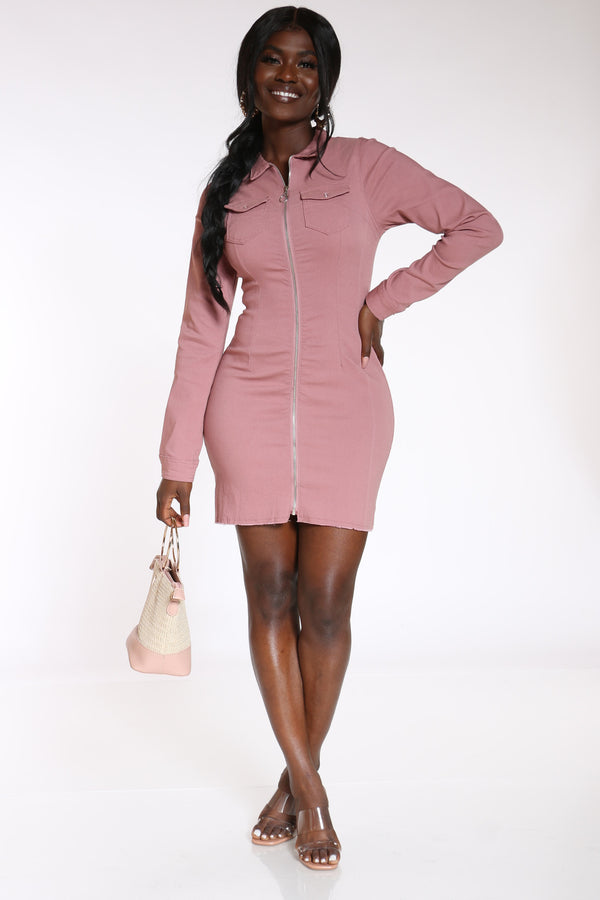 All The Curves You Want Hyper Stretch 2 Pocket Dress - Mauve